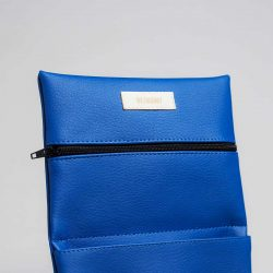 Vegan leather pouch in blue (detail)
