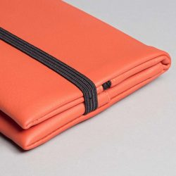 Vegan leather pouch in coral (detail)