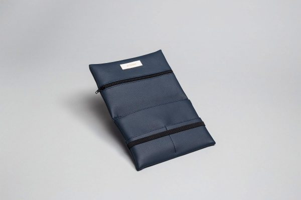 Vegan leather pouch in dark blue