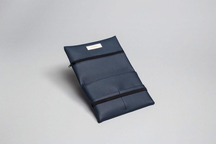 Vegan leather pouch in dark blue