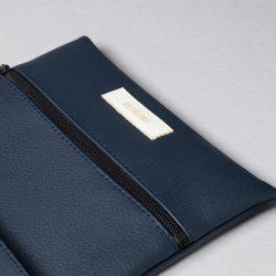Vegan leather pouch in dark blue (detail)