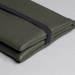 Vegan leather pouch in olive green (detail)