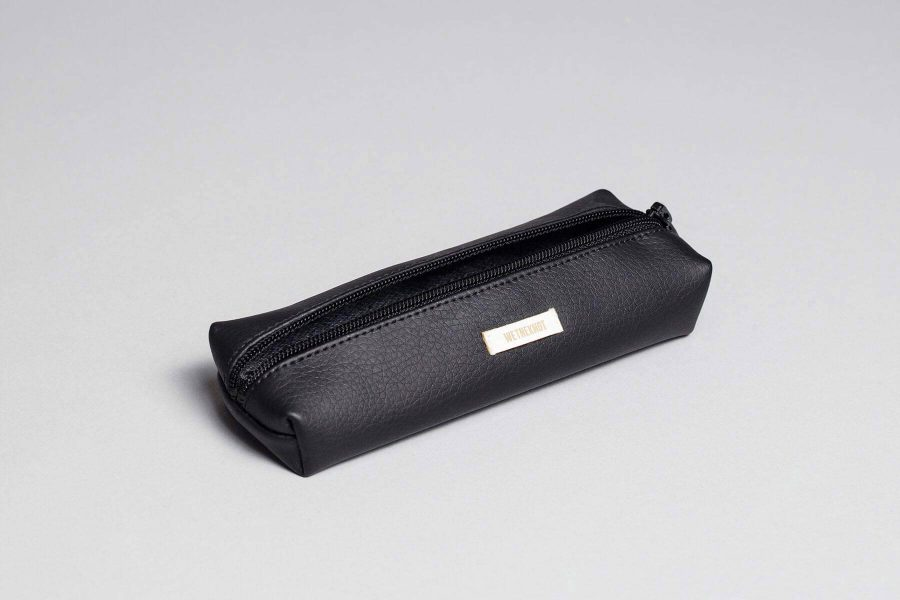 Vegan leather pencil case in black
