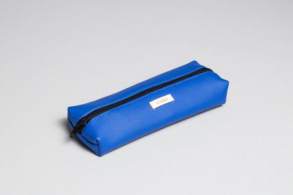 Vegan leather pencil case in blue