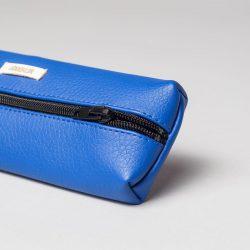 Vegan leather pencil case in blue (detail)
