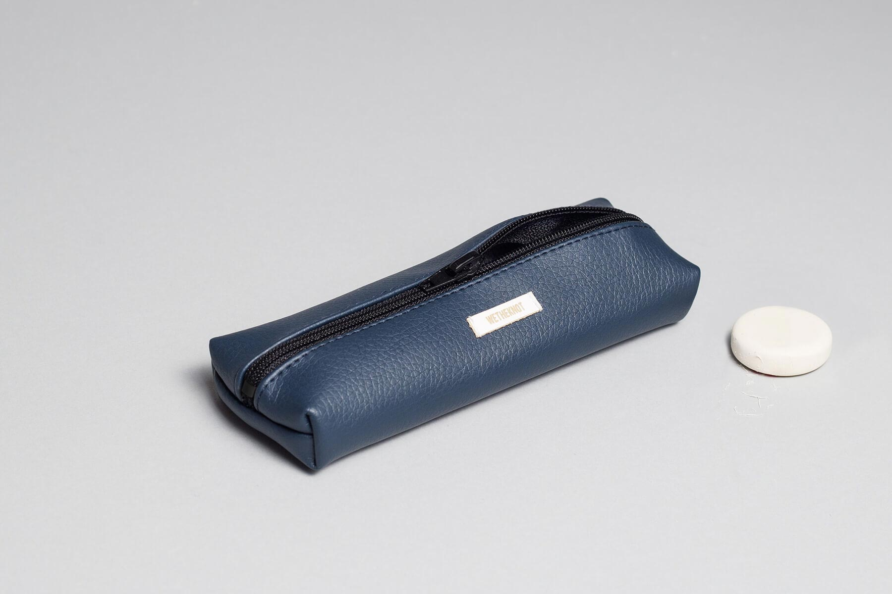 Vegan leather pencil case in dark blue