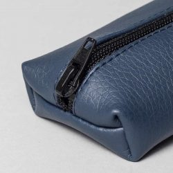 Vegan leather pencil case in dark blue (detail)