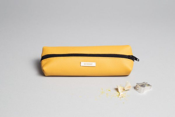 Vegan leather pencil case in mustard
