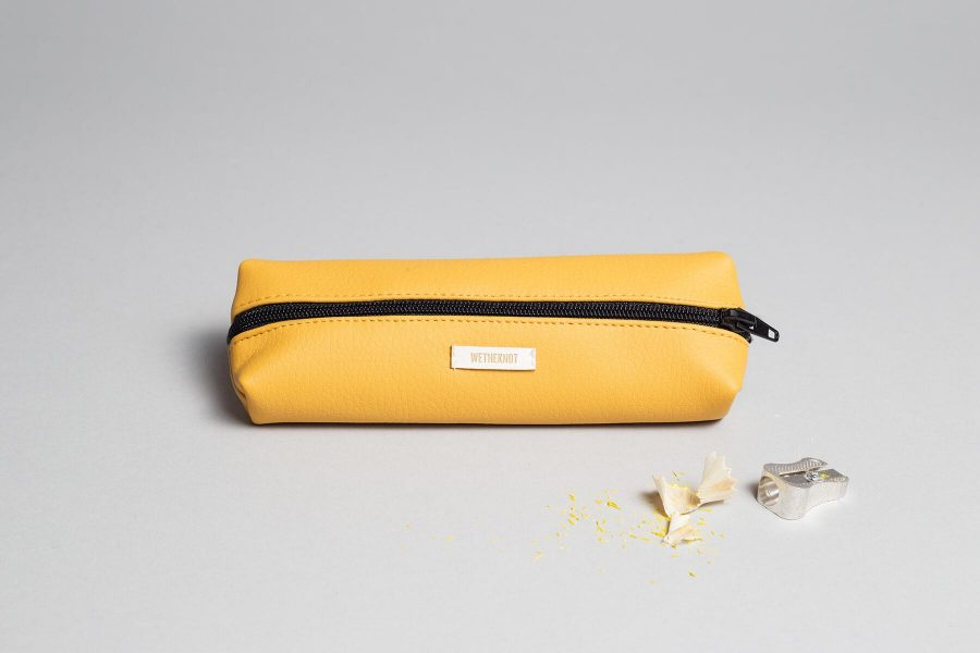 Vegan leather pencil case in mustard