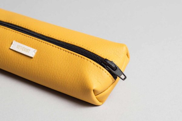 Vegan leather pencil case in mustard (detail)