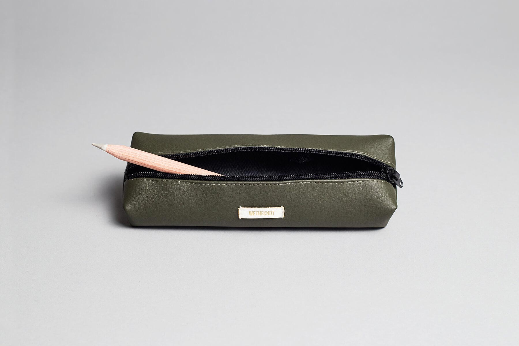 Vegan leather pencil case in olive green