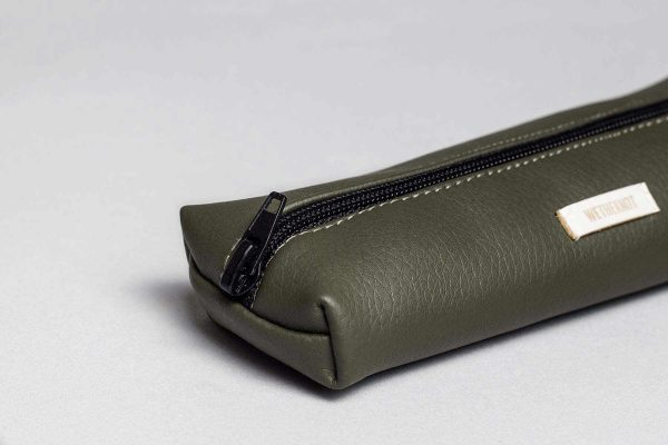 Vegan leather pencil case in olive green (detail)