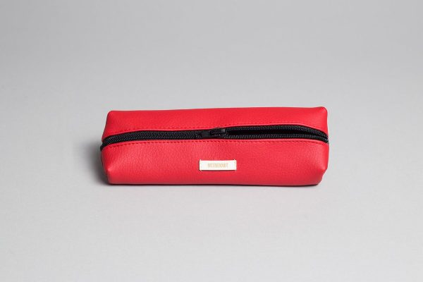 Vegan leather pencil case in red