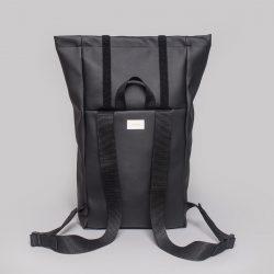 Vegan leather backpack in black (back)