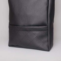 Vegan leather backpack in black (detail)