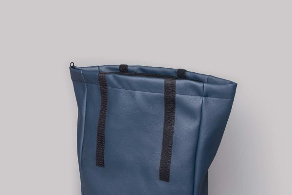 Vegan leather backpack in dark blue (detail)