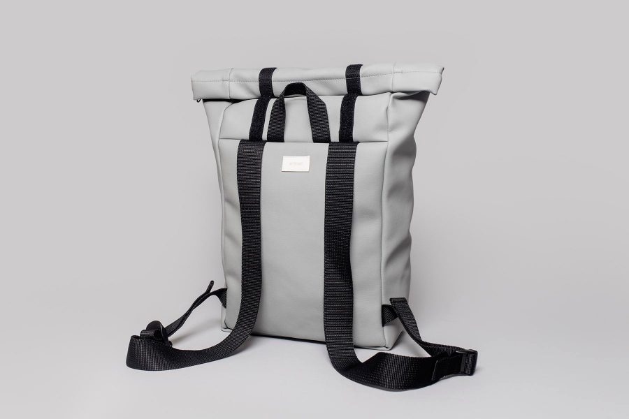 Vegan leather backpack in grey (back)