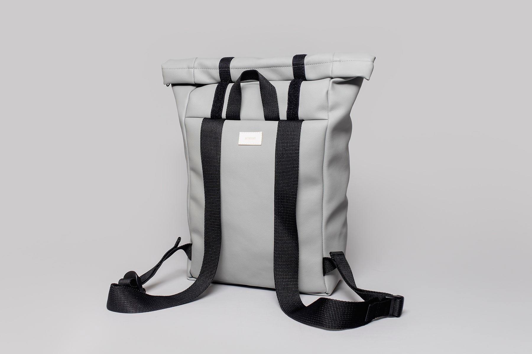 Vegan leather backpack in grey (back)