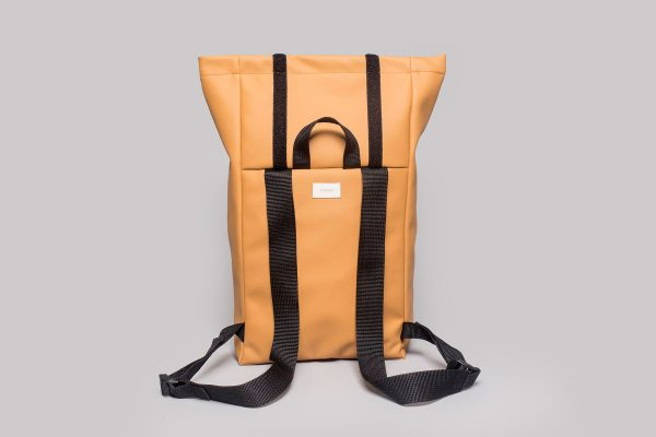 Vegan leather backpack in honey (back)