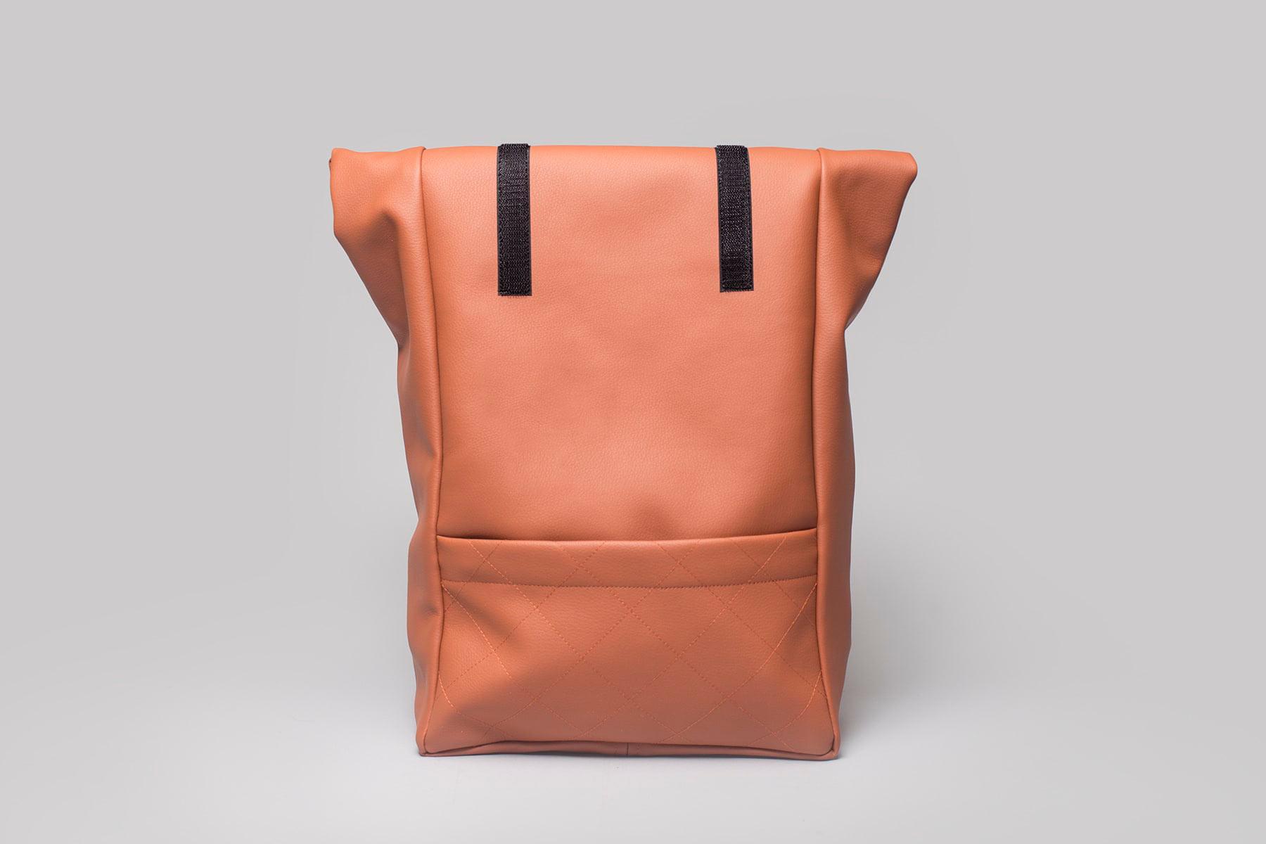 Vegan leather backpack in ochre