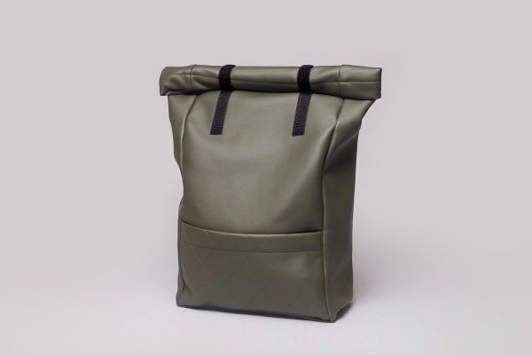 Vegan leather backpack in olive green