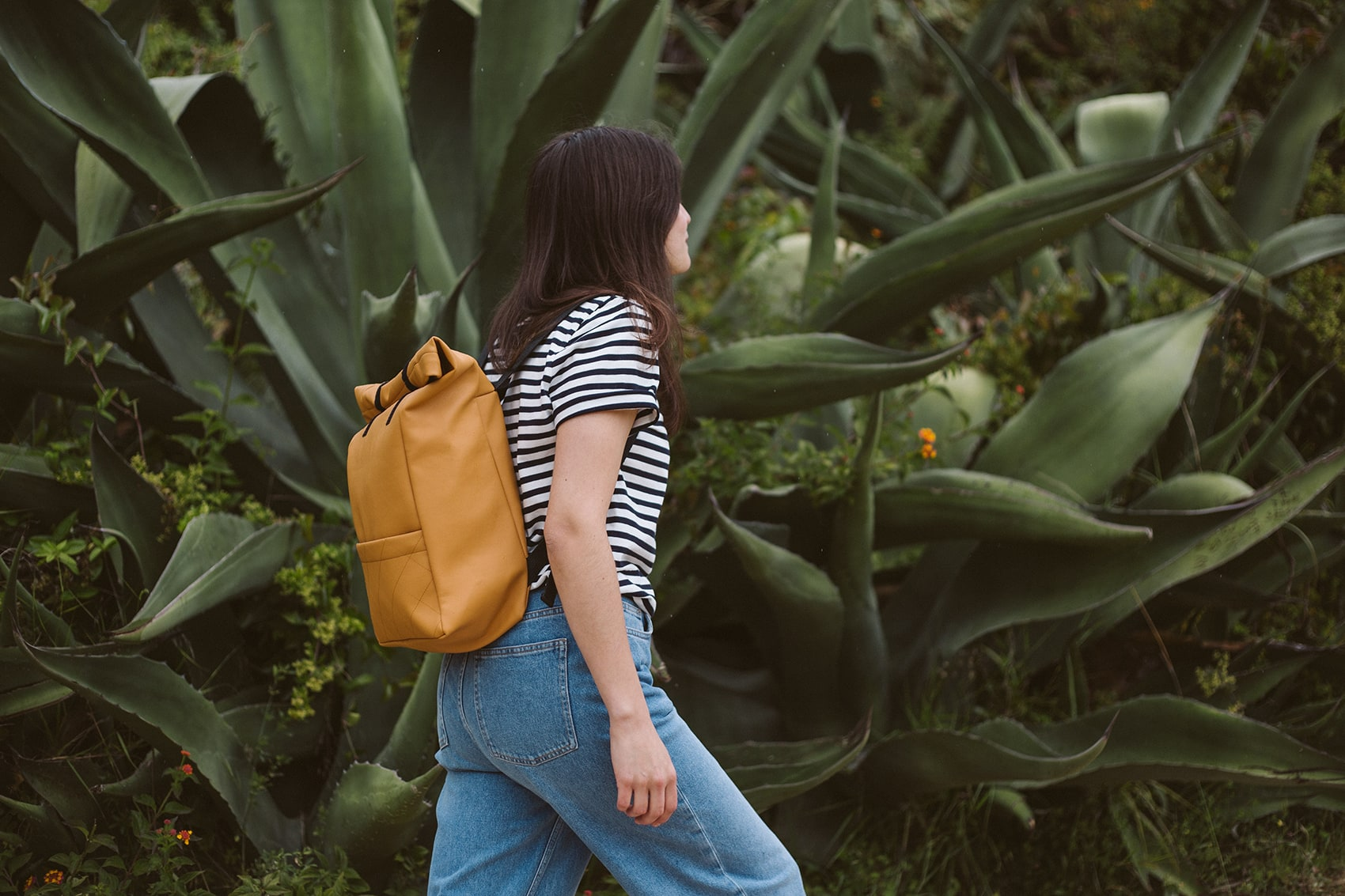 Roll-top backpack in honey, made in Portugal by wetheknot