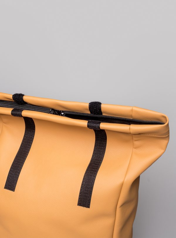 Roll–top backpack (honey) in vegan leather, made in Portugal by wetheknot.