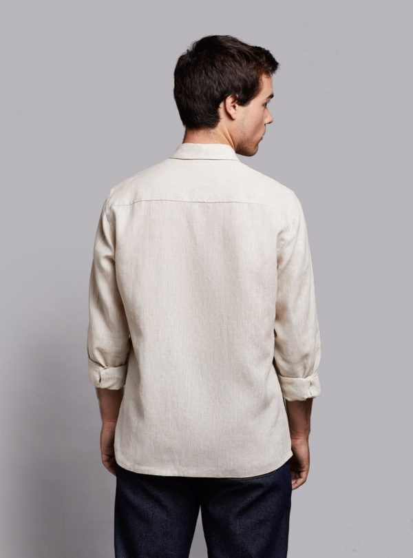 Casual shirt (beige melange) in linen, made in Portugal by wetheknot.