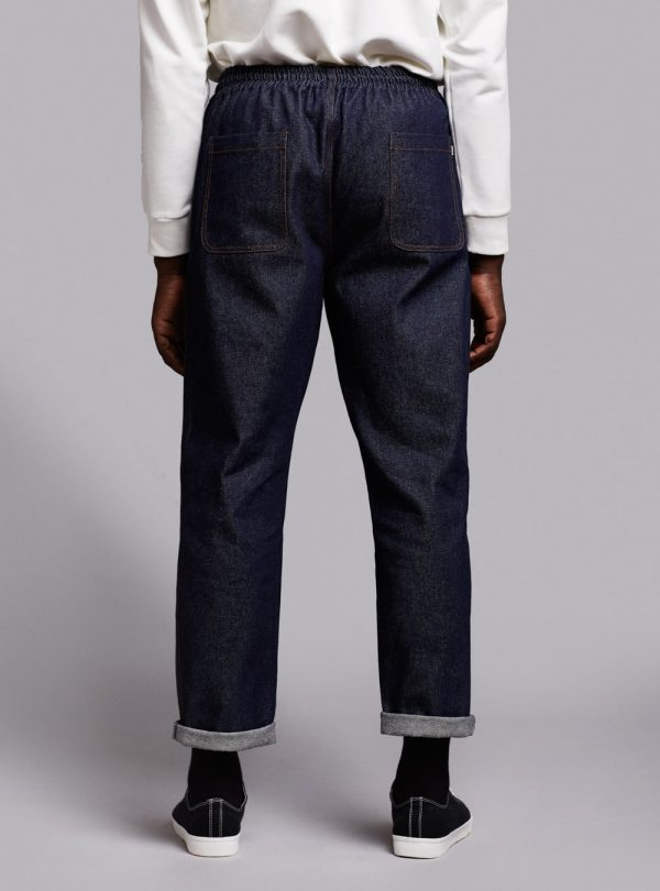 Drawstring trousers (dark denim) in cotton, made in Portugal by wetheknot.