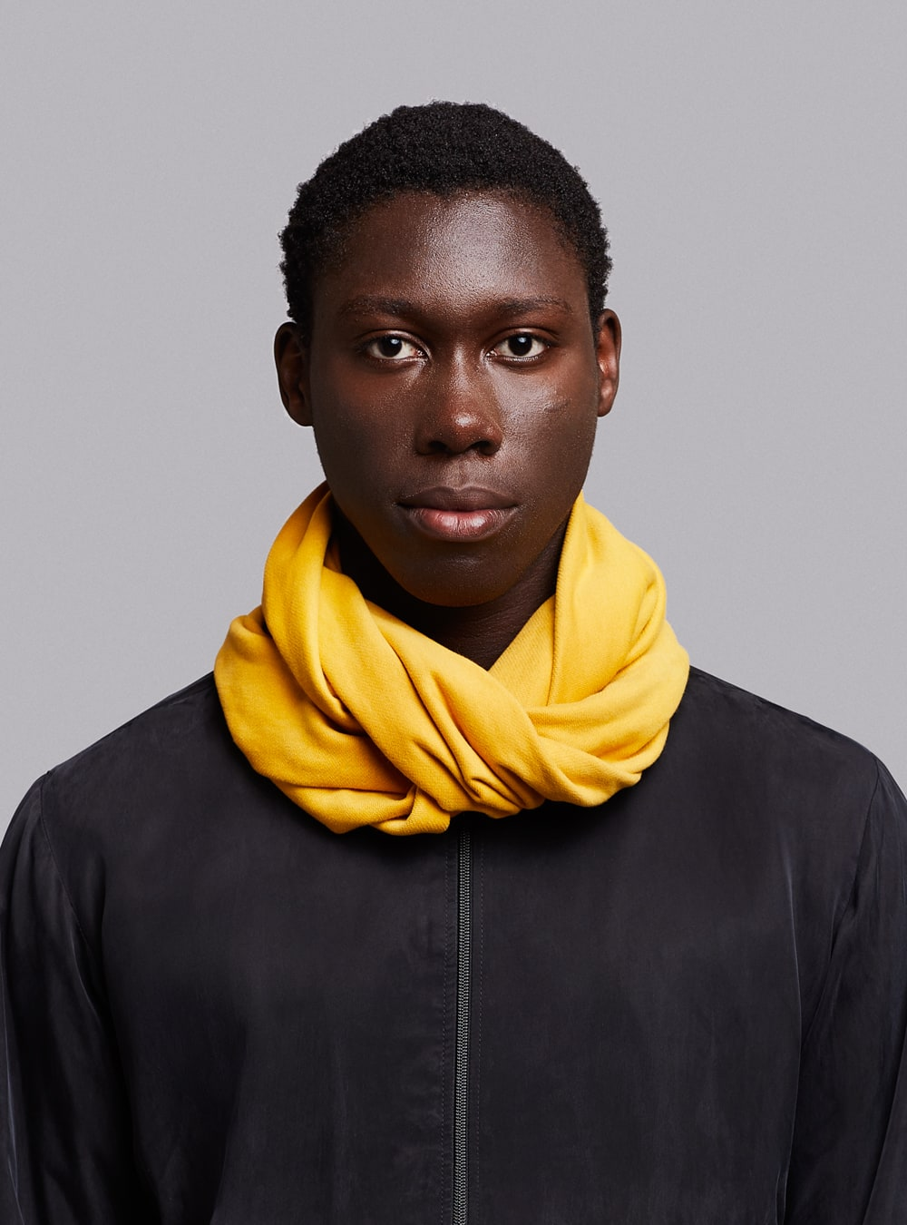 Essential circle scarf (mustard) in organic cotton, made in Portugal by wetheknot.