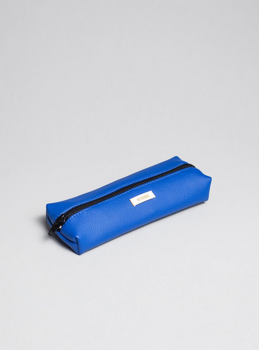 Pencil case (blue) in vegan leather, made in Portugal by wetheknot.