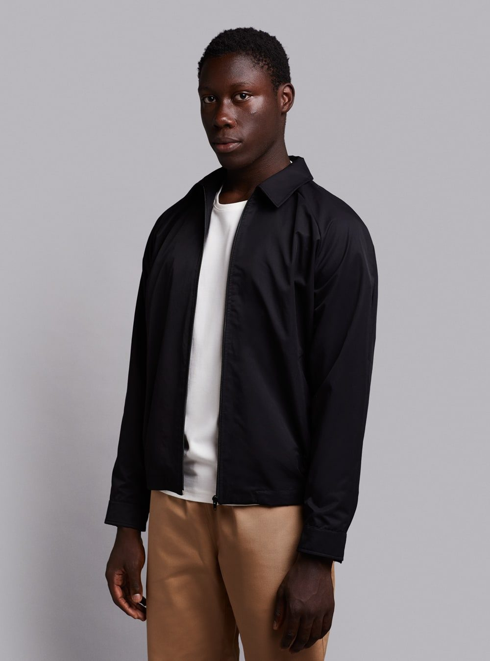 Harrington jacket (lightweight) in black, made in Portugal by wetheknot.