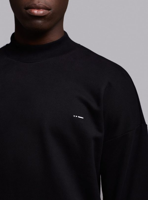 Mock neck sweatshirt (black) in organic cotton, made in Portugal by wetheknot.