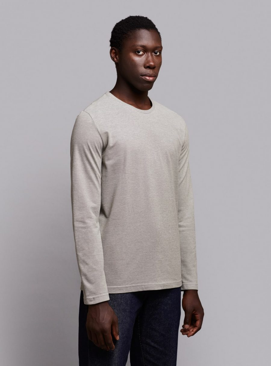 Piqué long sleeve (green melange) in organic cotton, made in Portugal by wetheknot.