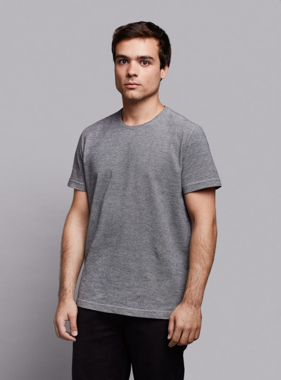 Piqué t-shirt (black melange) in organic cotton, made in Portugal by wetheknot.