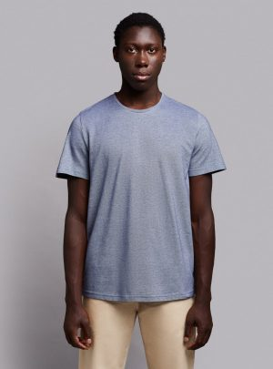 Piqué t-shirt (blue melange) in organic cotton, made in Portugal by wetheknot.