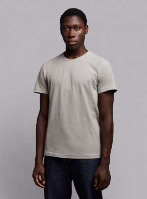 Piqué t-shirt (green melange) in organic cotton, made in Portugal by wetheknot.