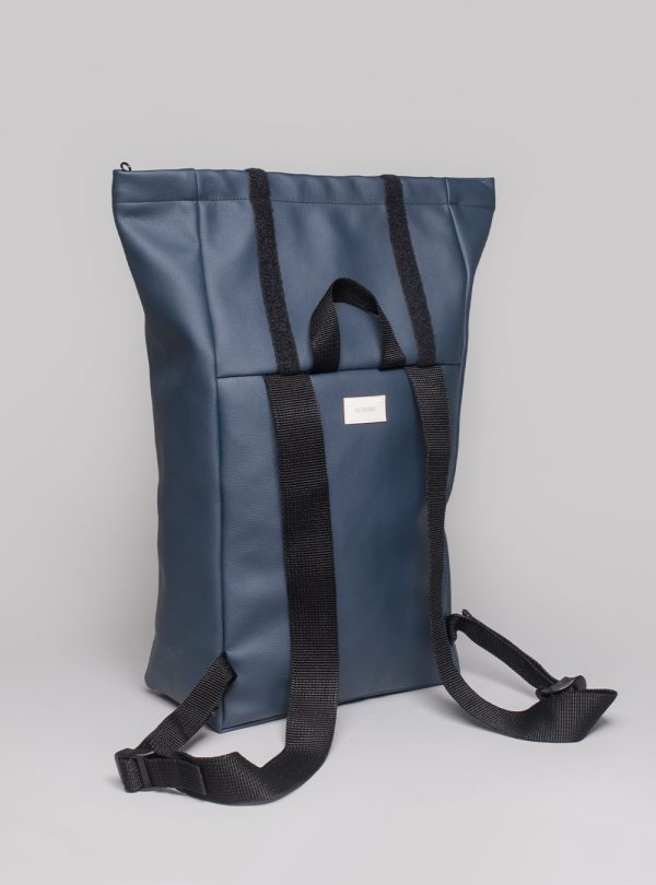Roll–top backpack (dark blue) in vegan leather, made in Portugal by wetheknot.
