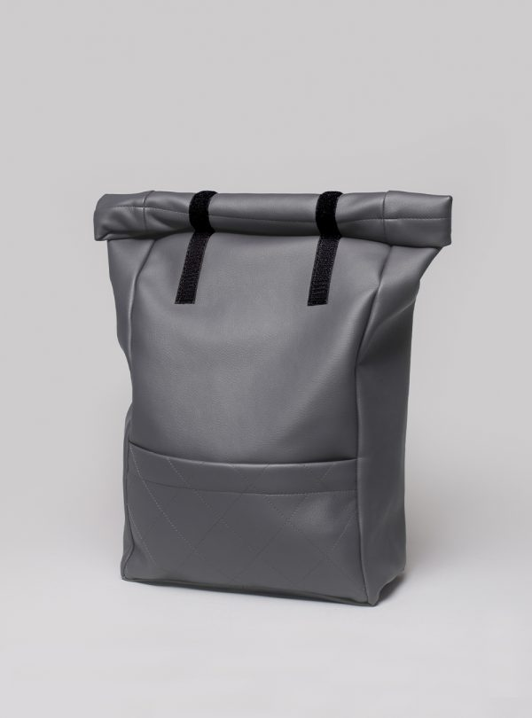 Roll–top backpack (dark grey) in vegan leather, made in Portugal by wetheknot.
