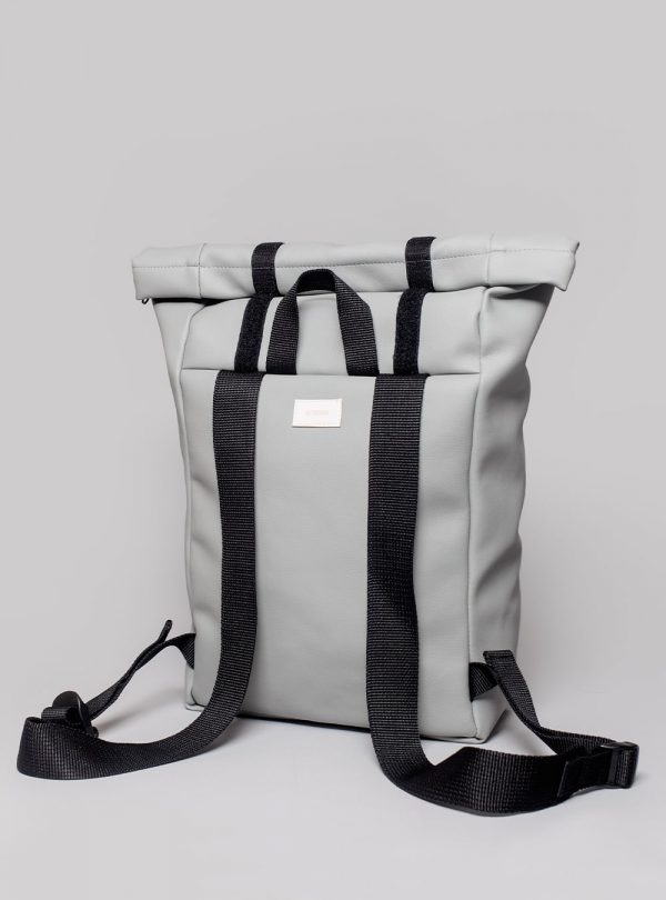 Roll–top backpack (grey) in vegan leather, made in Portugal by wetheknot.
