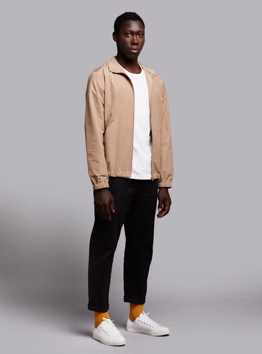 Windbreaker jacket (lightweight) in beige, made in Portugal by wetheknot.