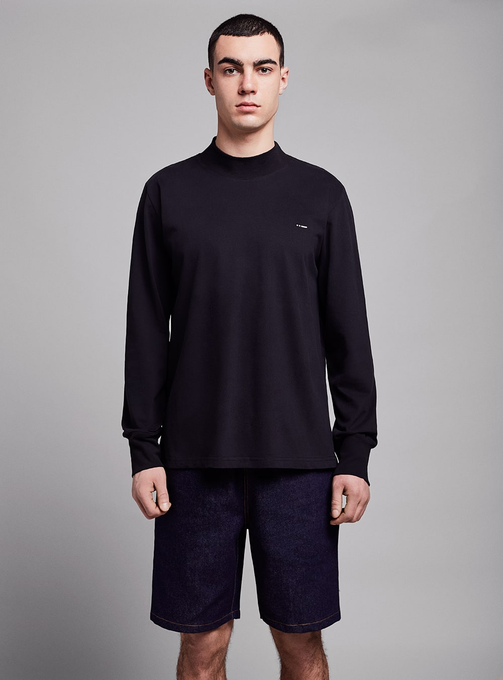 Mock neck long sleeve (black) in organic cotton, made in Portugal by wetheknot.