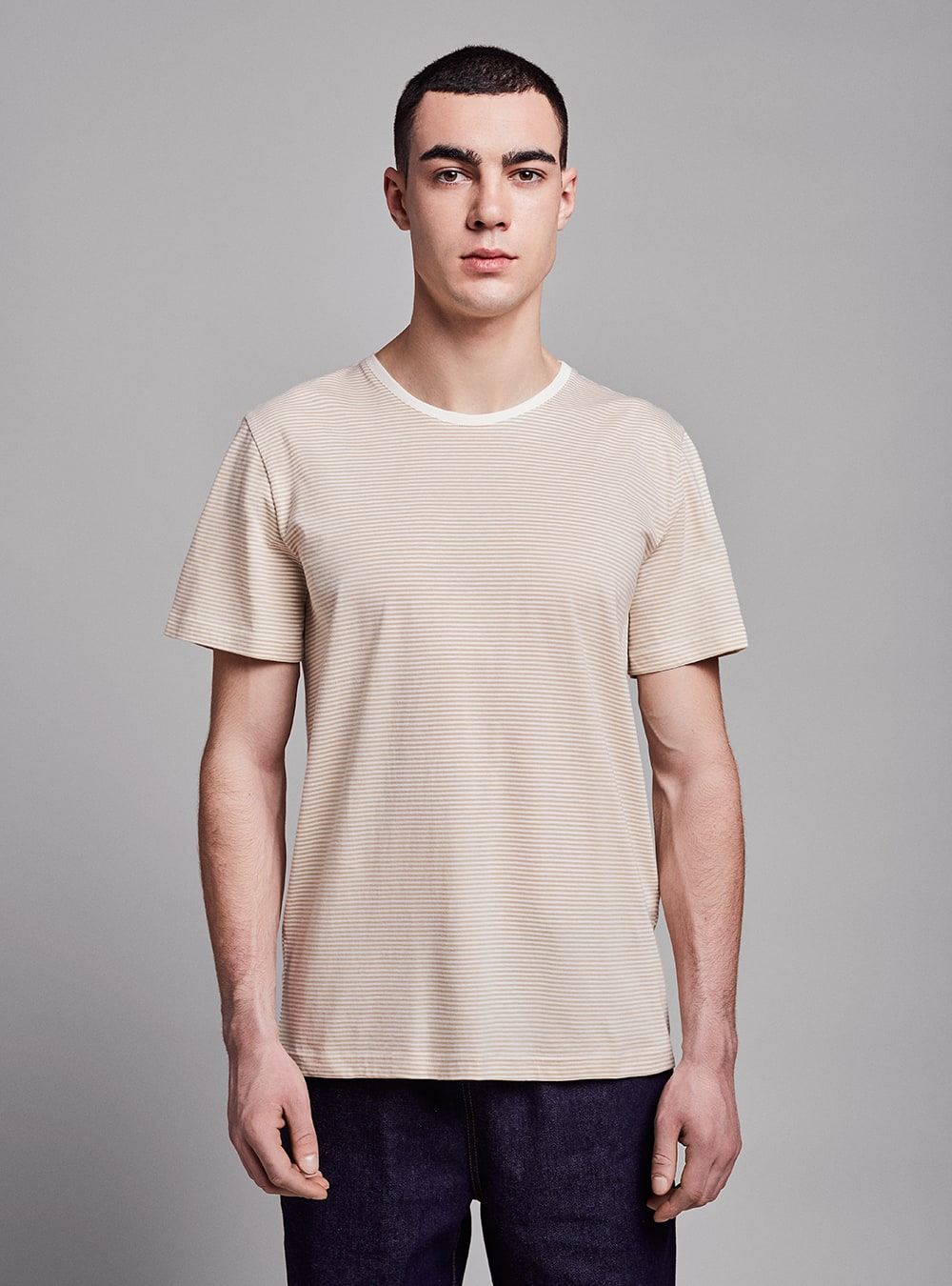 Stripes t-shirt (beige) in organic cotton, made in Portugal by wetheknot.