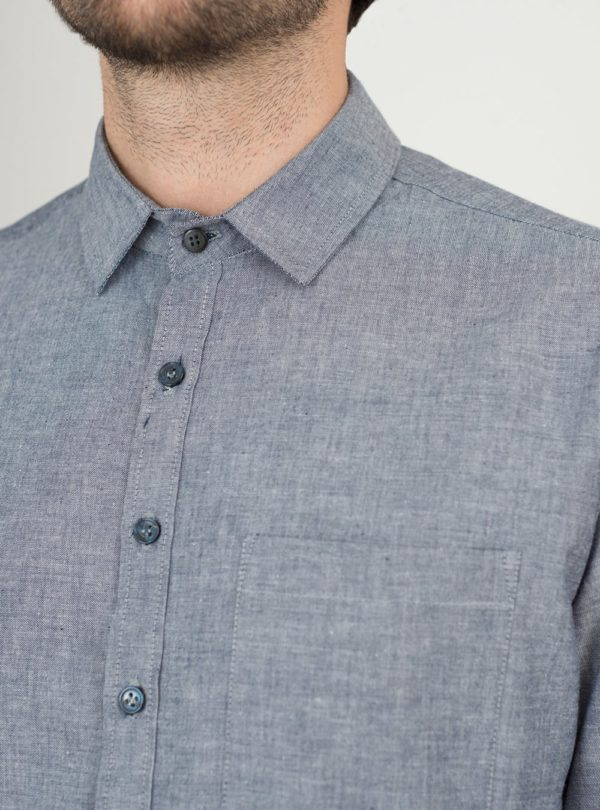 wetheknot casual shirt blue melange cotton 04 made in portugal overshirt