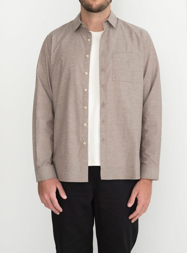 wetheknot casual shirt dark bege cotton 01 made in portugal overshirt