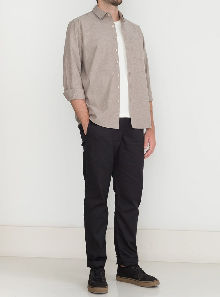 wetheknot casual shirt dark bege cotton 03 made in portugal overshirt