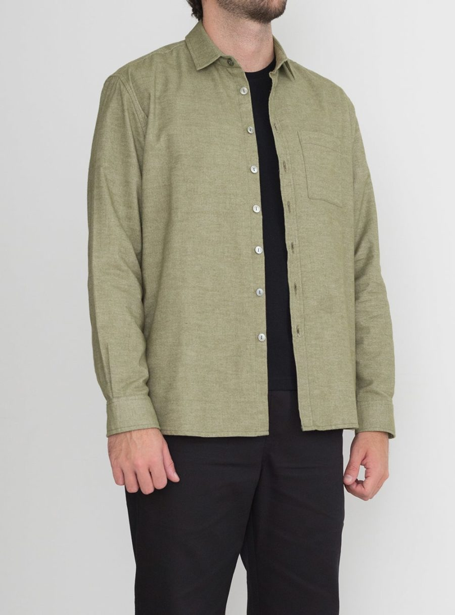 wetheknot casual shirt light green cotton 01 made in portugal overshirt