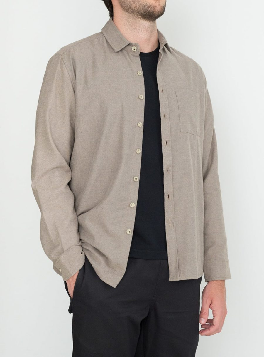 wetheknot casual shirt pale brown cotton 01 made in portugal overshirt